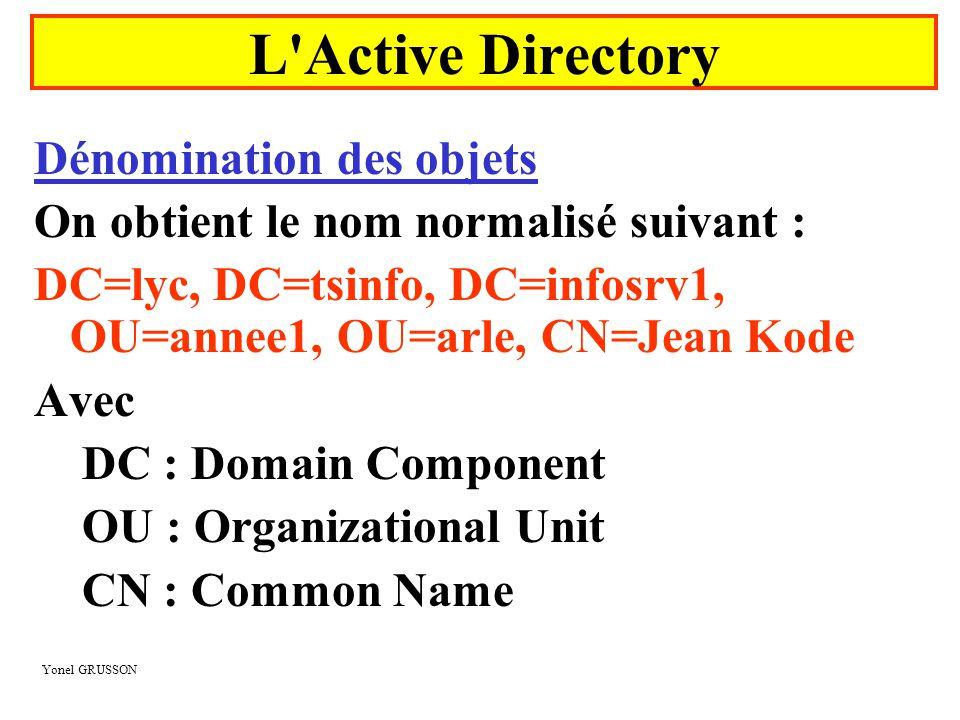 Yonel GRUSSON Dénomination des objets On obtient le nom normalisé suivant : DC=lyc, DC=tsinfo, DC=infosrv1, OU=annee1, OU=arle, CN=Jean Kode Avec DC :