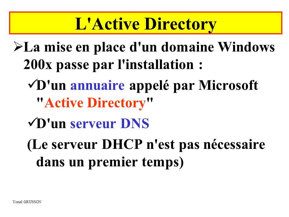 Yonel GRUSSON L Active Directory  L Active Directory de Microsoft est le service d annuaire fourni par Windows 200x Server (abandon de la notion de base de comptes intégrée dans la base de registre)  L Active Directory supporte les protocoles suivants :  TCP/IP : protocole réseau  DNS : la gestion des noms de domaine Windows 200x repose sur ce service.
