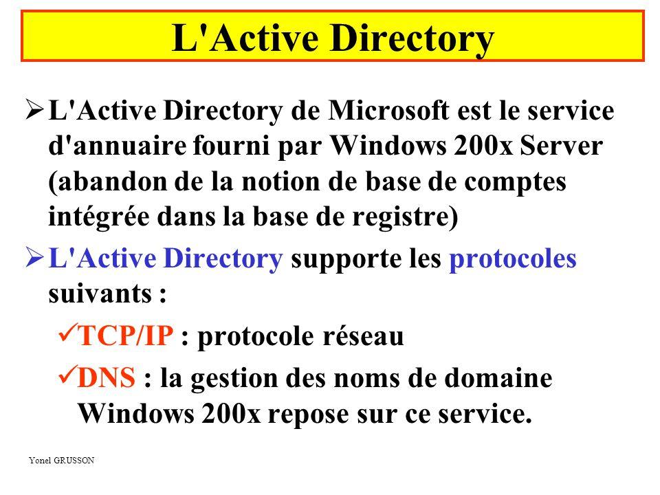 Yonel GRUSSON L'Active Directory  L'Active Directory de Microsoft est le service d'annuaire fourni par Windows 200x Server (abandon de la notion de b