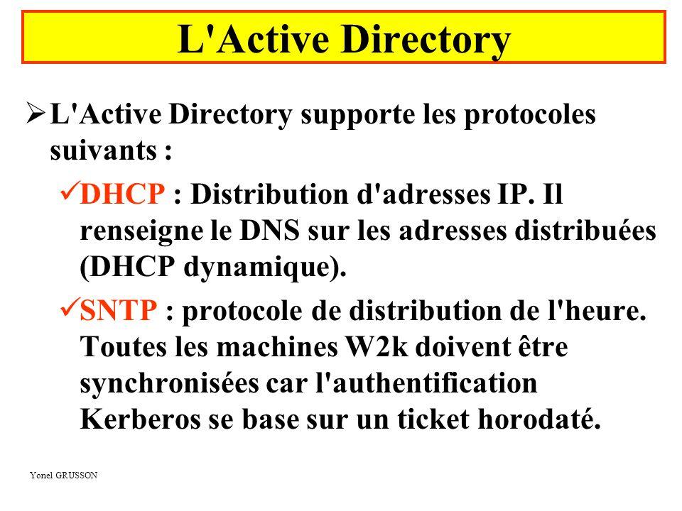 Yonel GRUSSON  L Active Directory supporte les protocoles suivants :  LDAP : protocole d accès à l annuaire  KERBEROS : permet l authentification  LDIF : permet la synchronisation de l annuaire ( Lightweight Data Interchange Format ) L Active Directory