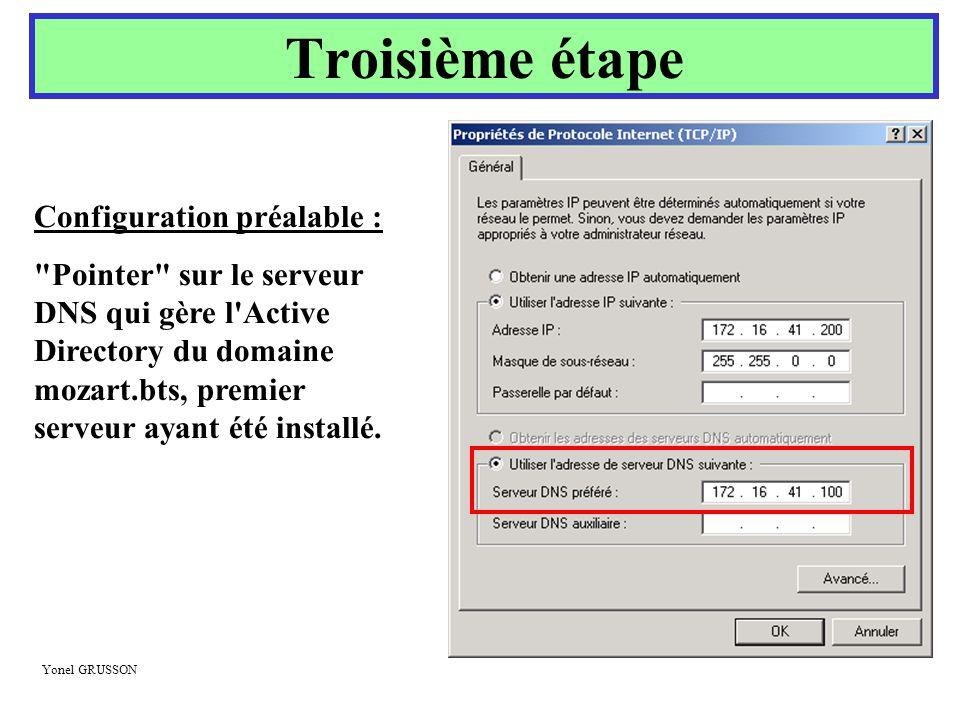 Yonel GRUSSON Troisième étape Configuration préalable :