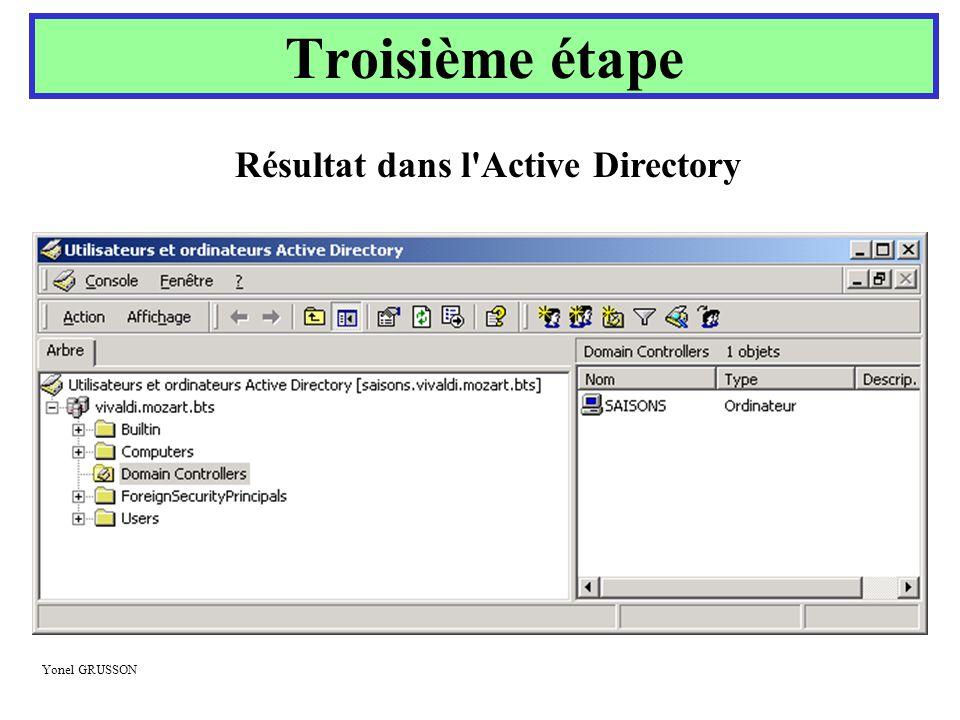 Yonel GRUSSON Troisième étape Résultat dans l'Active Directory