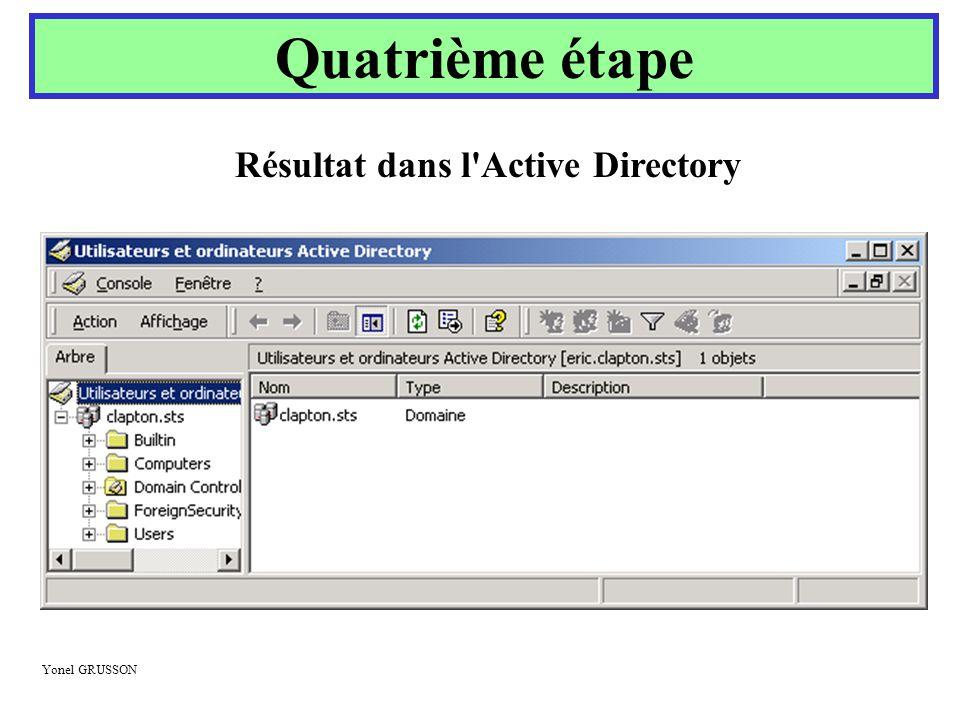 Yonel GRUSSON Quatrième étape Résultat dans l'Active Directory
