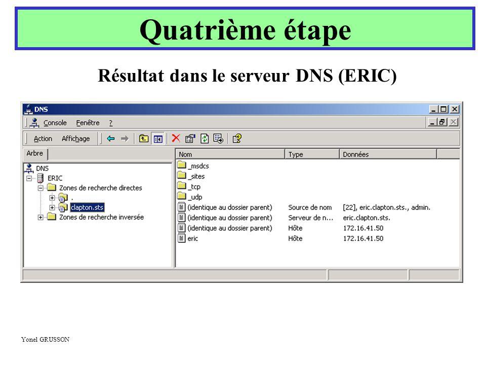 Yonel GRUSSON Quatrième étape Résultat dans le serveur DNS (ERIC)