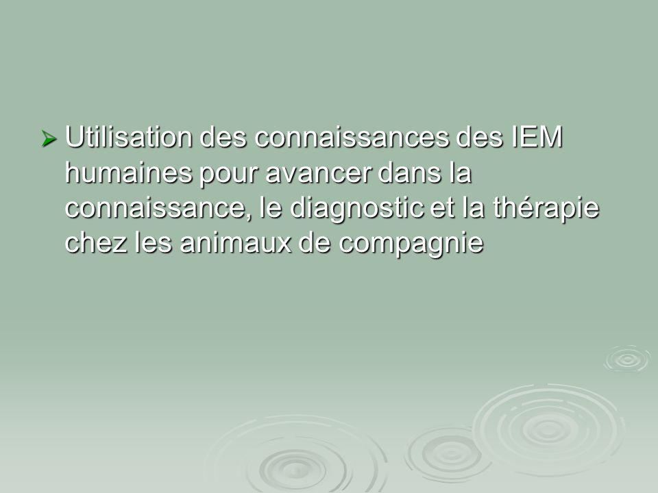  Utilisation des connaissances des IEM humaines pour avancer dans la connaissance, le diagnostic et la thérapie chez les animaux de compagnie