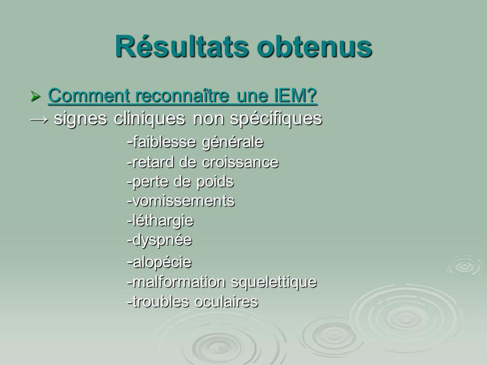 Résultats obtenus  Comment reconnaître une IEM? → signes cliniques non spécifiques - faiblesse générale -retard de croissance -perte de poids -vomiss