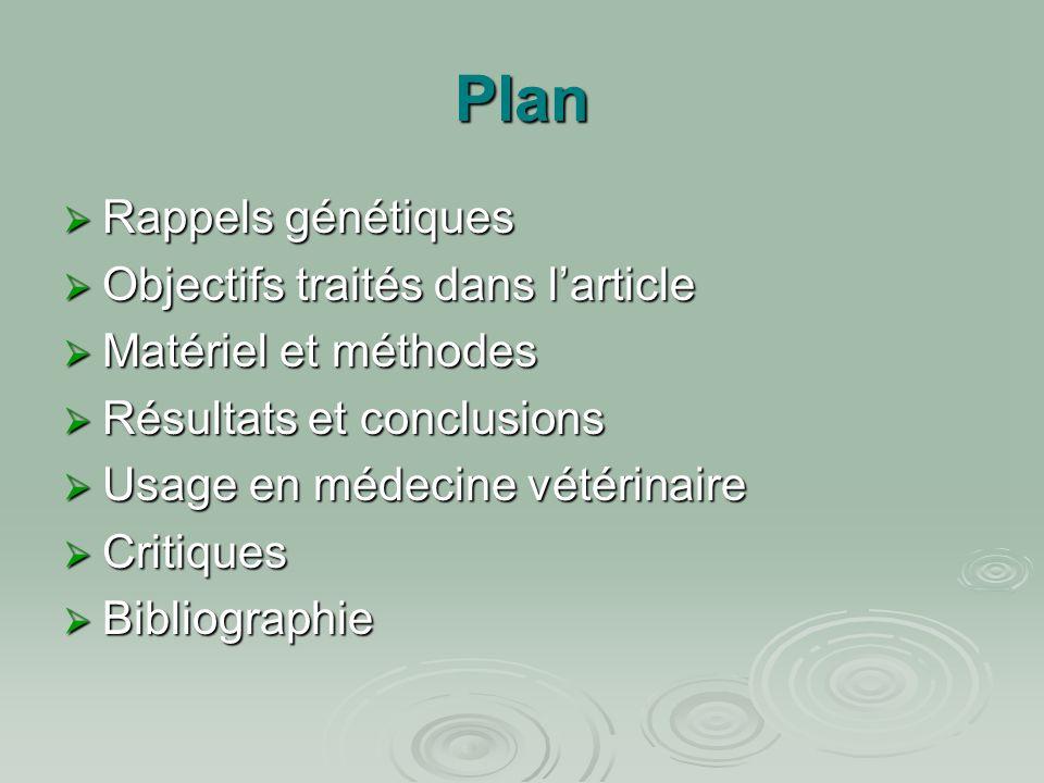 Plan  Rappels génétiques  Objectifs traités dans l'article  Matériel et méthodes  Résultats et conclusions  Usage en médecine vétérinaire  Criti