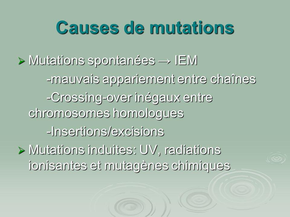 Causes de mutations  Mutations spontanées → IEM -mauvais appariement entre chaînes -Crossing-over inégaux entre chromosomes homologues -Insertions/ex