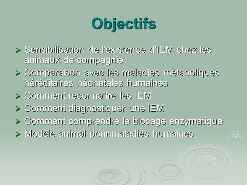 Objectifs  Sensibilisation de l'existence d'IEM chez les animaux de compagnie  Comparaison avec les maladies métaboliques héréditaires néonatales hu