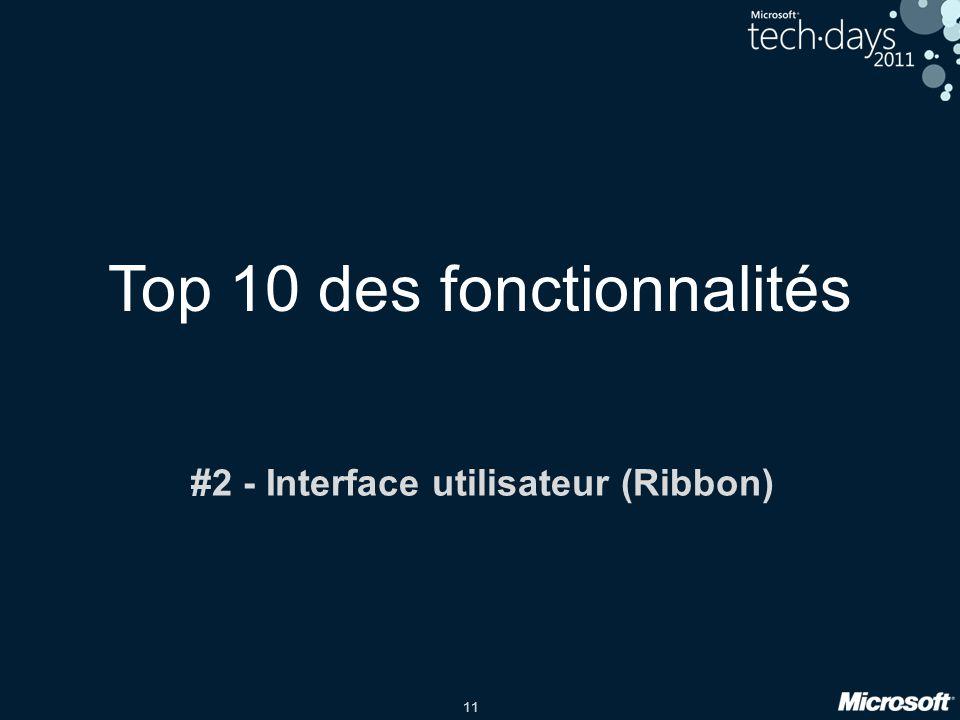11 Top 10 des fonctionnalités #2 - Interface utilisateur (Ribbon)