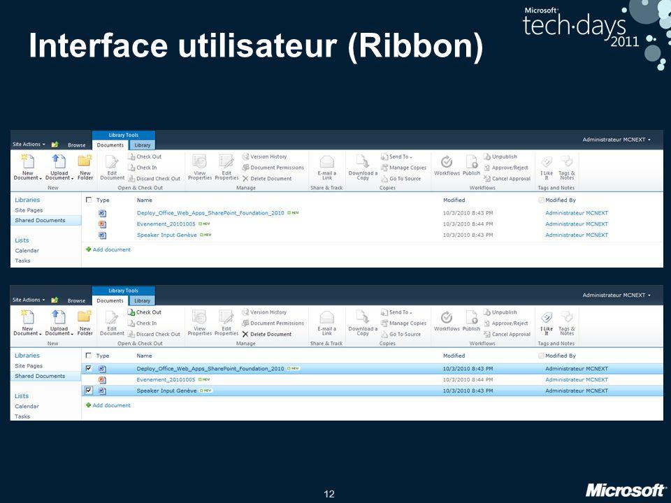 12 Interface utilisateur (Ribbon)