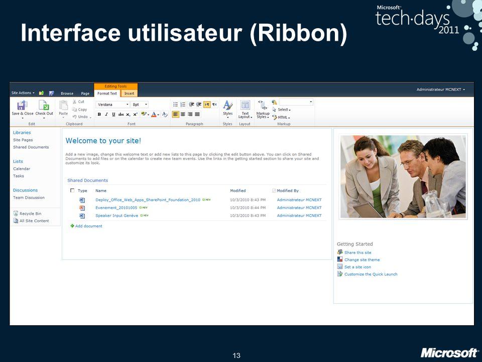 13 Interface utilisateur (Ribbon)