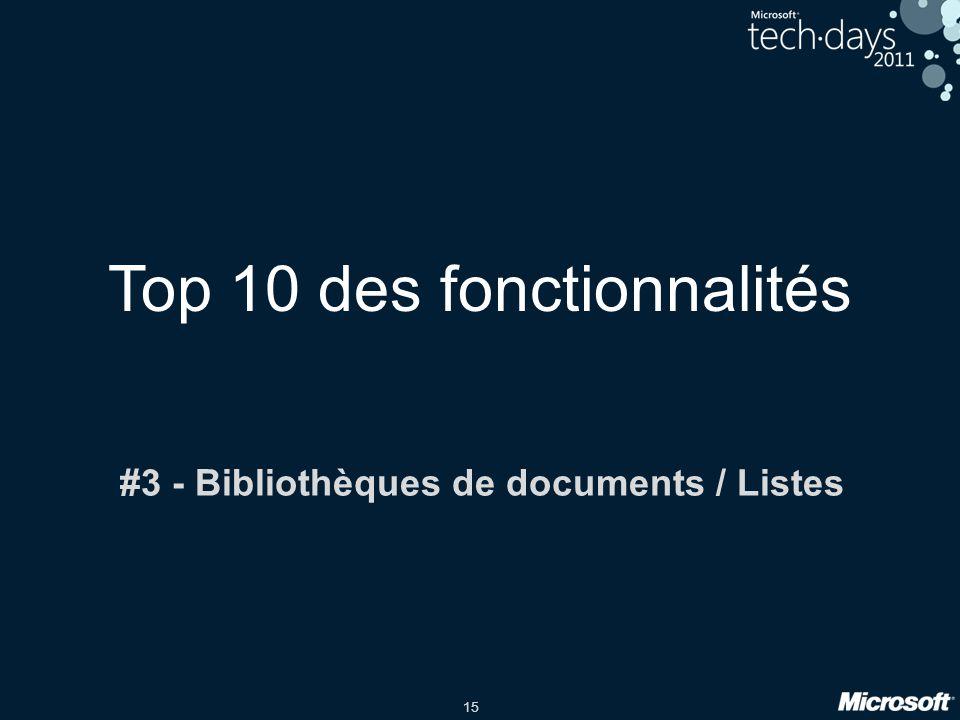 15 Top 10 des fonctionnalités #3 - Bibliothèques de documents / Listes