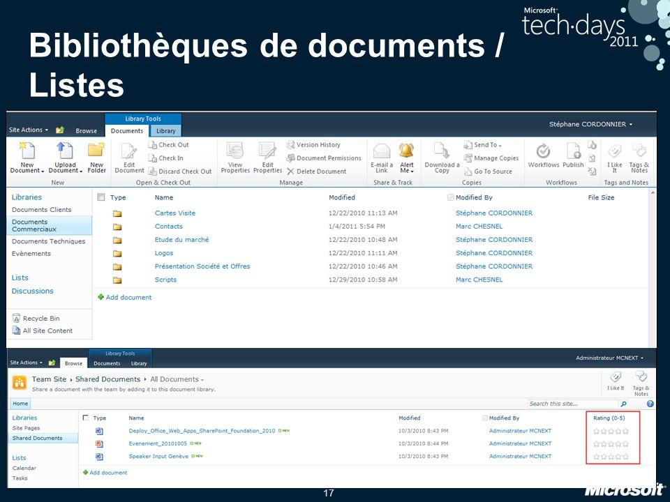 17 Bibliothèques de documents / Listes