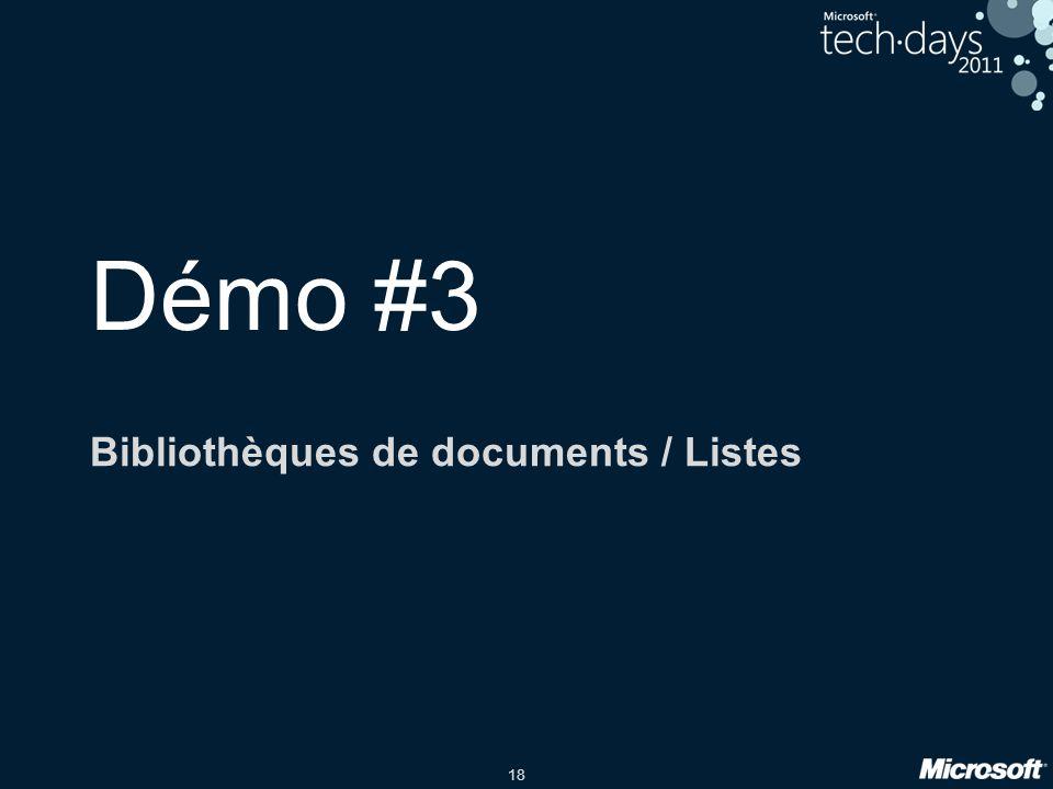 18 Démo #3 Bibliothèques de documents / Listes