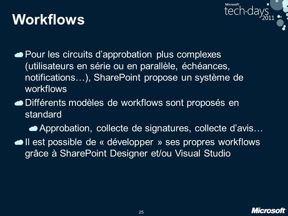 25 Workflows Pour les circuits d'approbation plus complexes (utilisateurs en série ou en parallèle, échéances, notifications…), SharePoint propose un