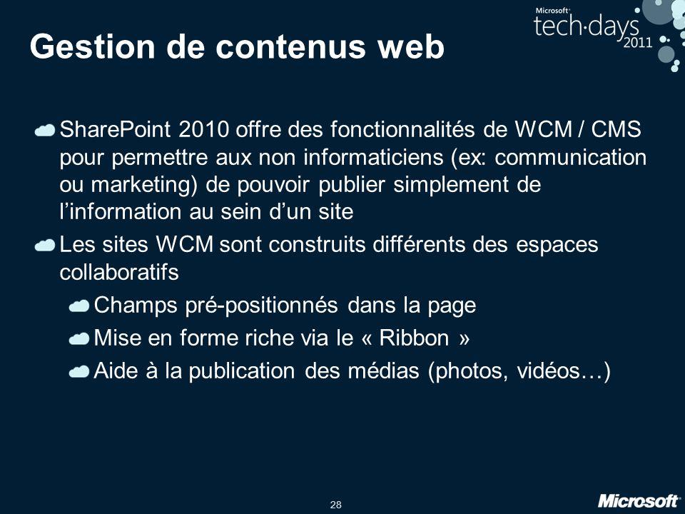 28 Gestion de contenus web SharePoint 2010 offre des fonctionnalités de WCM / CMS pour permettre aux non informaticiens (ex: communication ou marketin