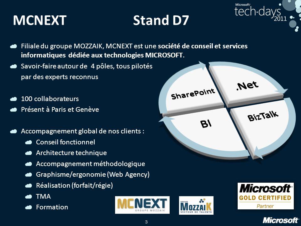 3 MCNEXTStand D7 Filiale du groupe MOZZAIK, MCNEXT est une société de conseil et services informatiques dédiée aux technologies MICROSOFT. Savoir-fair