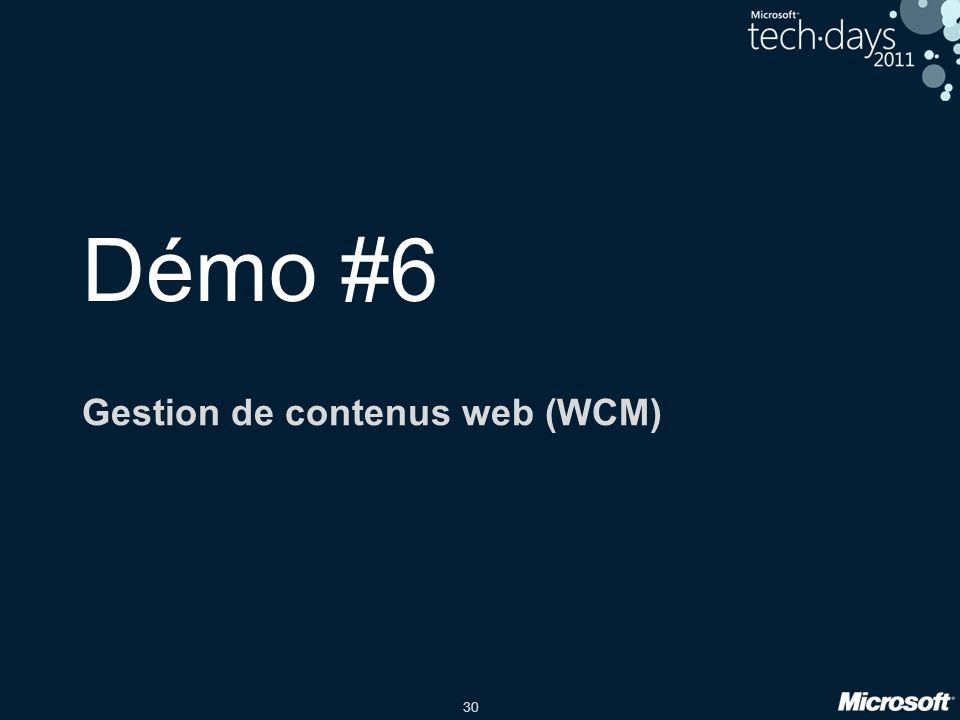 30 Démo #6 Gestion de contenus web (WCM)