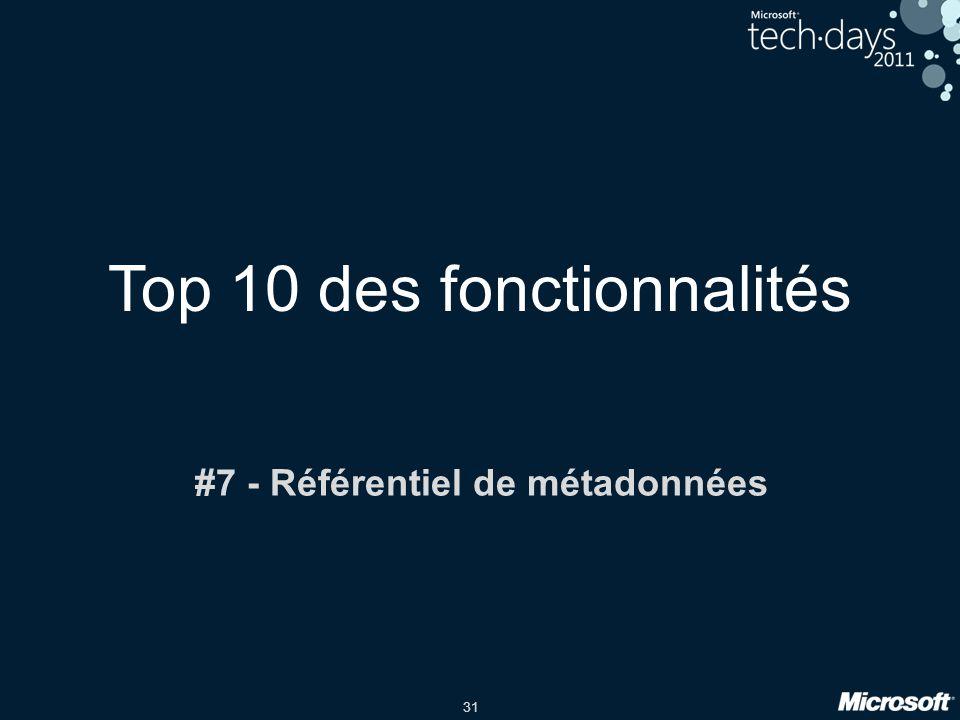 31 Top 10 des fonctionnalités #7 - Référentiel de métadonnées