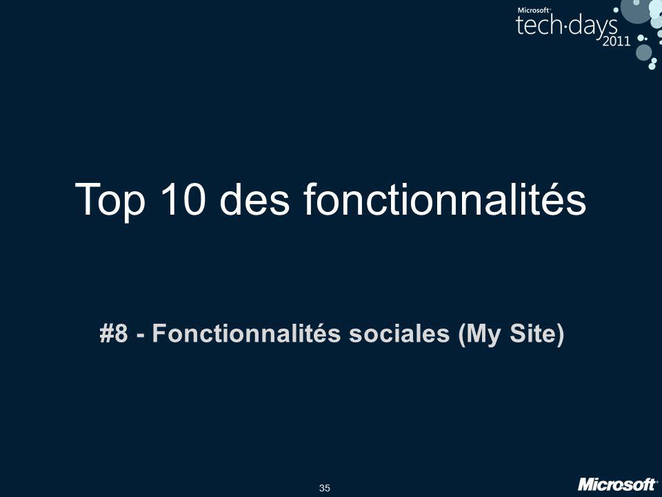 35 Top 10 des fonctionnalités #8 - Fonctionnalités sociales (My Site)