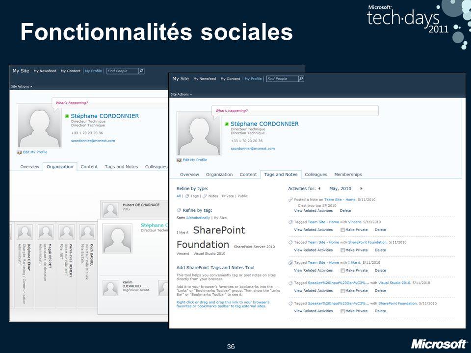 36 Fonctionnalités sociales