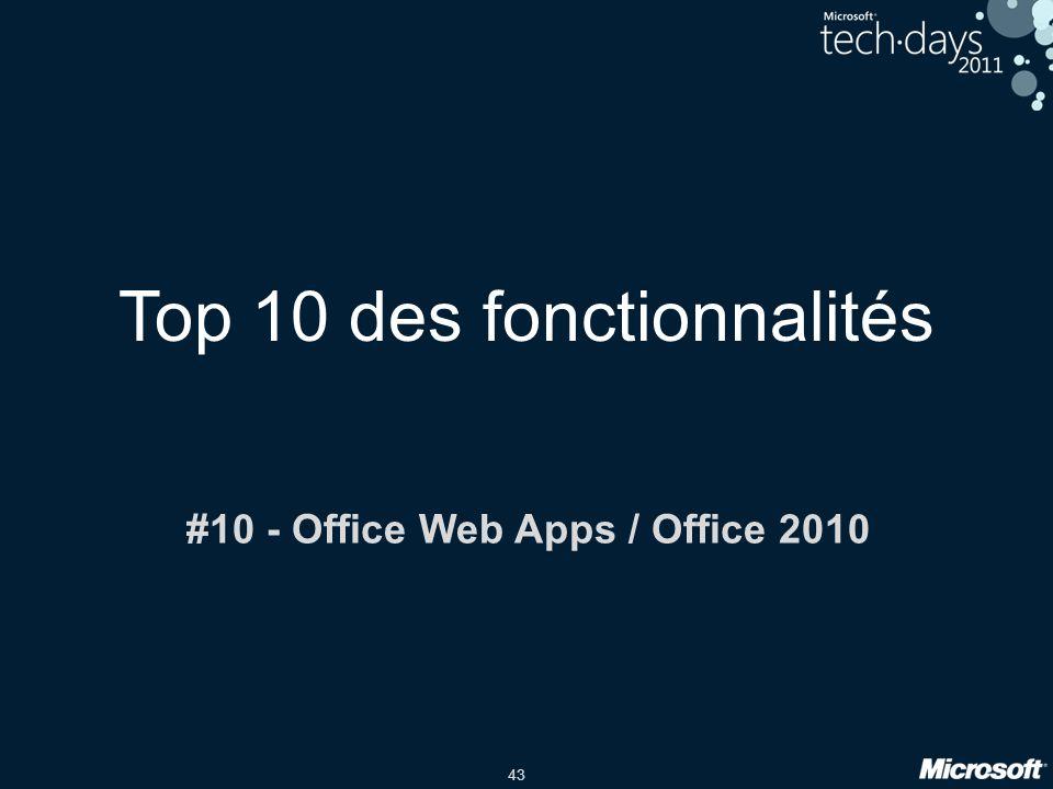 43 Top 10 des fonctionnalités #10 - Office Web Apps / Office 2010