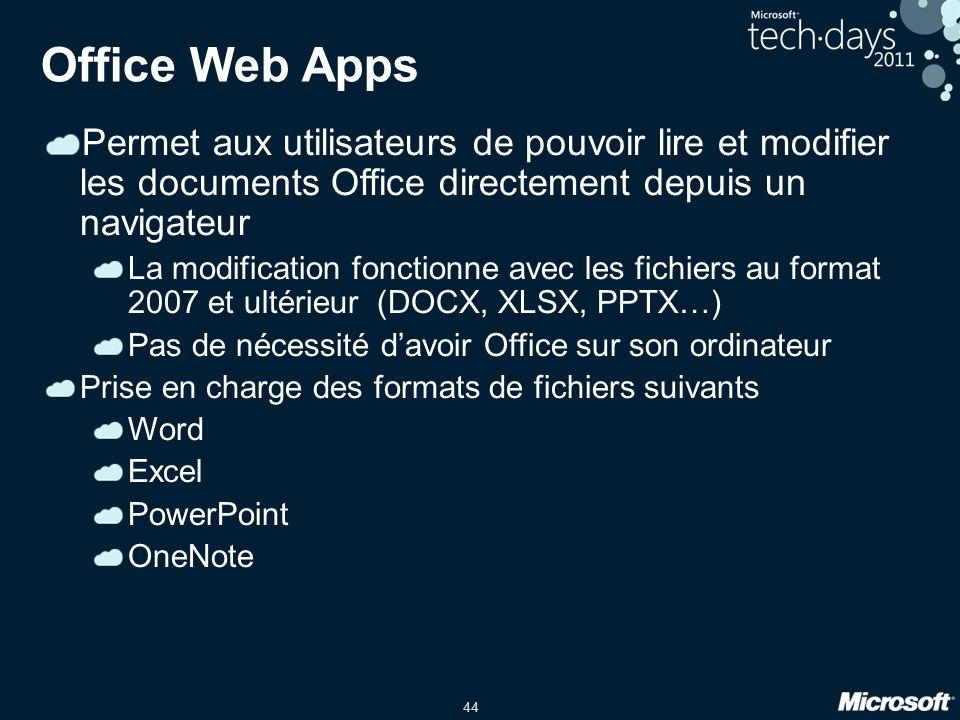 44 Office Web Apps Permet aux utilisateurs de pouvoir lire et modifier les documents Office directement depuis un navigateur La modification fonctionn