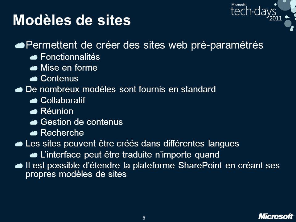 8 Modèles de sites Permettent de créer des sites web pré-paramétrés Fonctionnalités Mise en forme Contenus De nombreux modèles sont fournis en standar