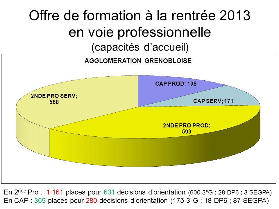 Offre de formation à la rentrée 2013 en voie professionnelle (capacités d'accueil) En 2 nde Pro : 1 161 places pour 631 décisions d'orientation (600 3°G ; 28 DP6 ; 3 SEGPA) En CAP : 369 places pour 280 décisions d'orientation (175 3°G ; 18 DP6 ; 87 SEGPA)