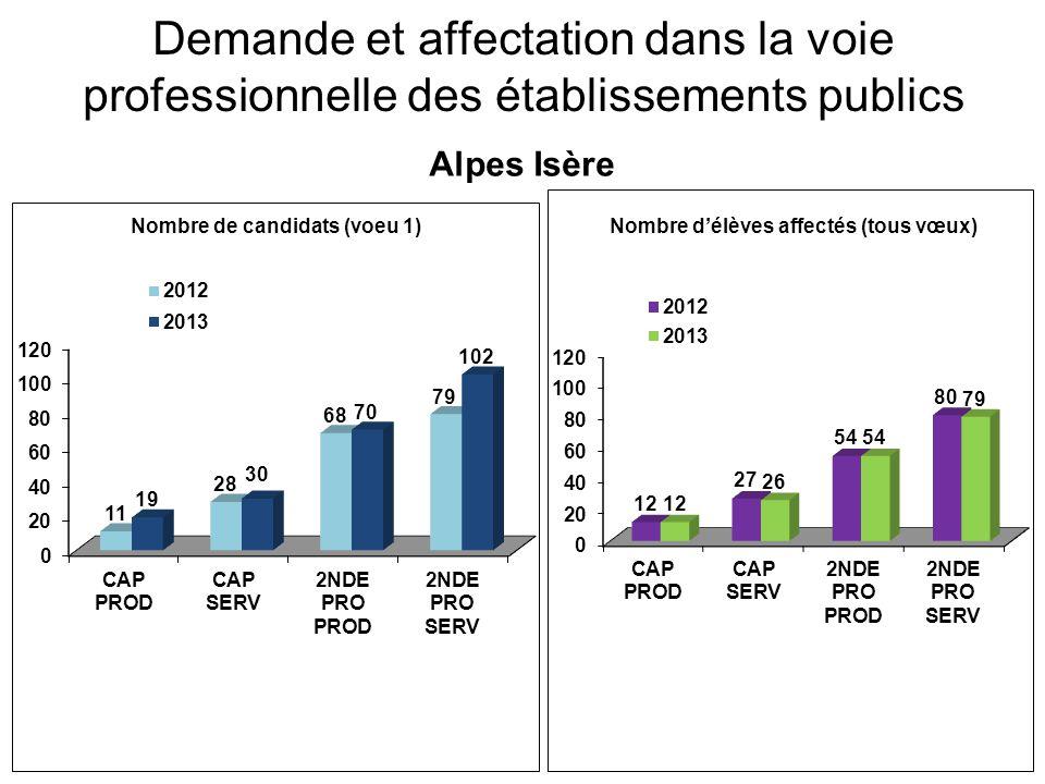 Demande et affectation dans la voie professionnelle des établissements publics Alpes Isère