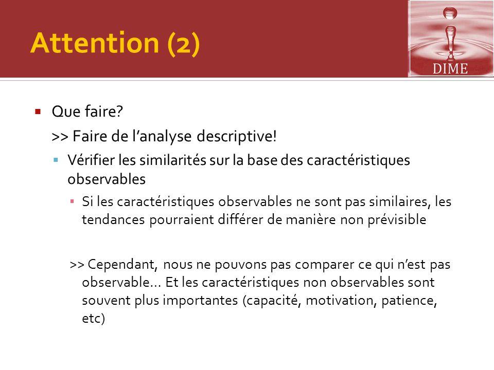 Attention (2)  Que faire? >> Faire de l'analyse descriptive!  Vérifier les similarités sur la base des caractéristiques observables ▪ Si les caracté