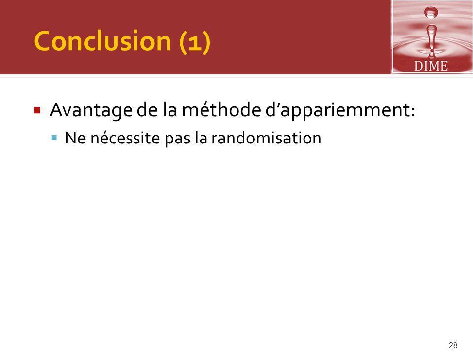 Conclusion (1)  Avantage de la méthode d'appariemment:  Ne nécessite pas la randomisation 28