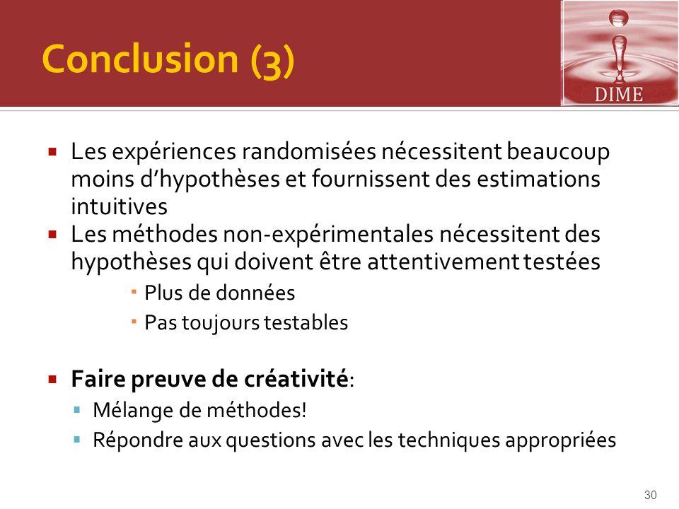 Conclusion (3)  Les expériences randomisées nécessitent beaucoup moins d'hypothèses et fournissent des estimations intuitives  Les méthodes non-expé