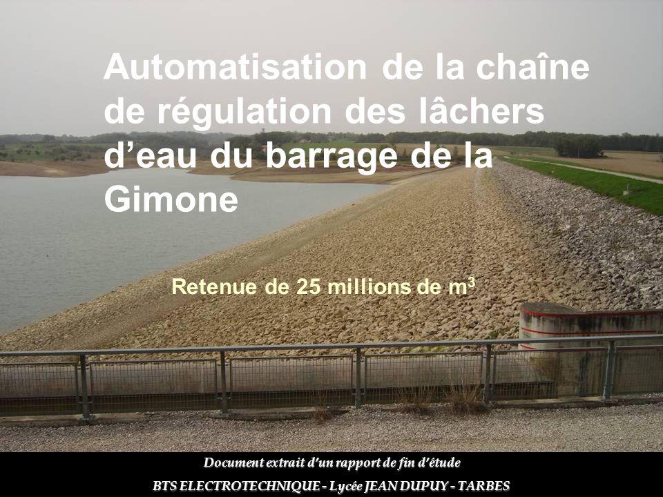 Automatisation de la chaîne de régulation des lâchers d'eau du barrage de la Gimone Retenue de 25 millions de m 3 Document extrait d'un rapport de fin
