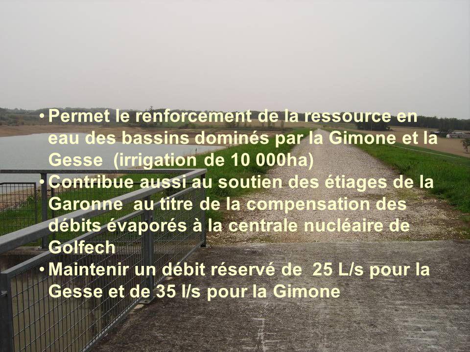 •Permet le renforcement de la ressource en eau des bassins dominés par la Gimone et la Gesse (irrigation de 10 000ha) •Contribue aussi au soutien des