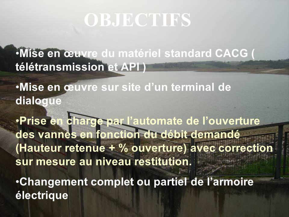 OBJECTIFS •Mise en œuvre du matériel standard CACG ( télétransmission et API ) •Mise en œuvre sur site d'un terminal de dialogue •Prise en charge par
