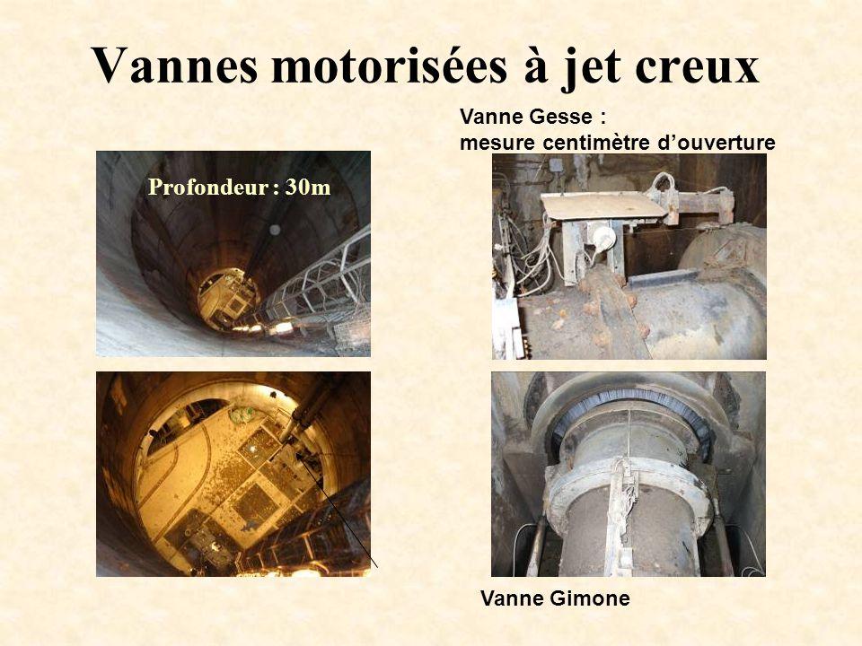 Vannes motorisées à jet creux Profondeur : 30m Vanne Gesse : mesure centimètre d'ouverture Vanne Gimone
