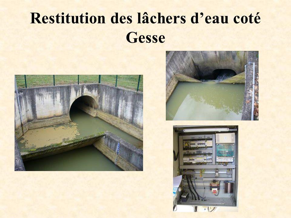 Restitution des lâchers d'eau coté Gesse