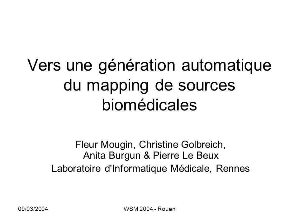 09/03/2004WSM 2004 - Rouen Vers une génération automatique du mapping de sources biomédicales Fleur Mougin, Christine Golbreich, Anita Burgun & Pierre