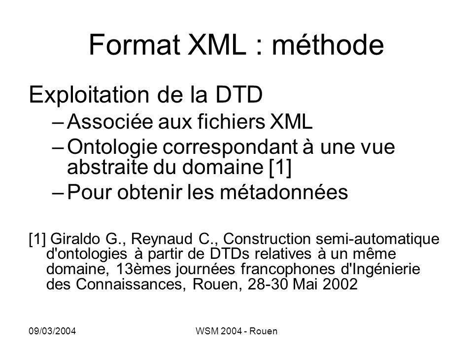 09/03/2004WSM 2004 - Rouen Format XML : méthode Exploitation de la DTD –Associée aux fichiers XML –Ontologie correspondant à une vue abstraite du doma