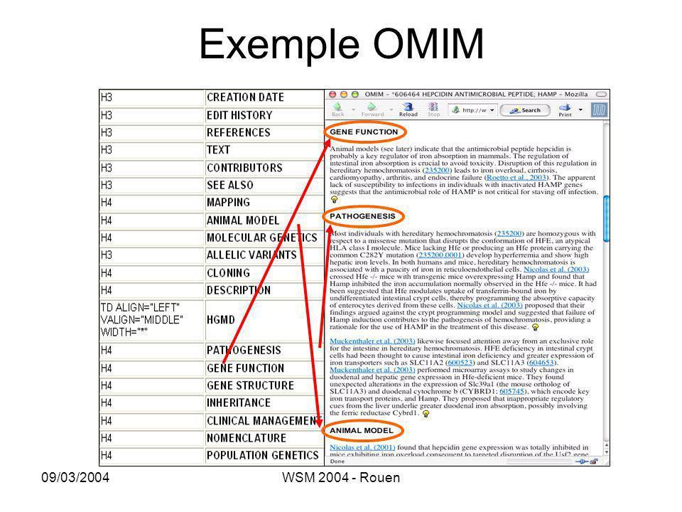 09/03/2004WSM 2004 - Rouen Exemple OMIM