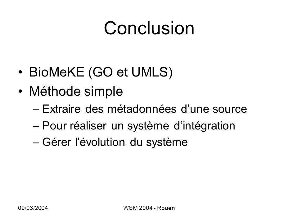 09/03/2004WSM 2004 - Rouen Conclusion •BioMeKE (GO et UMLS) •Méthode simple –Extraire des métadonnées d'une source –Pour réaliser un système d'intégra
