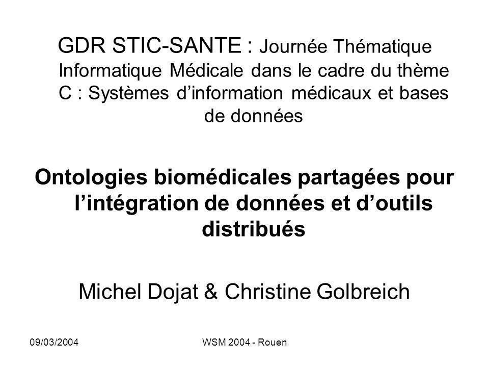 09/03/2004WSM 2004 - Rouen GDR STIC-SANTE : Journée Thématique Informatique Médicale dans le cadre du thème C : Systèmes d'information médicaux et bas