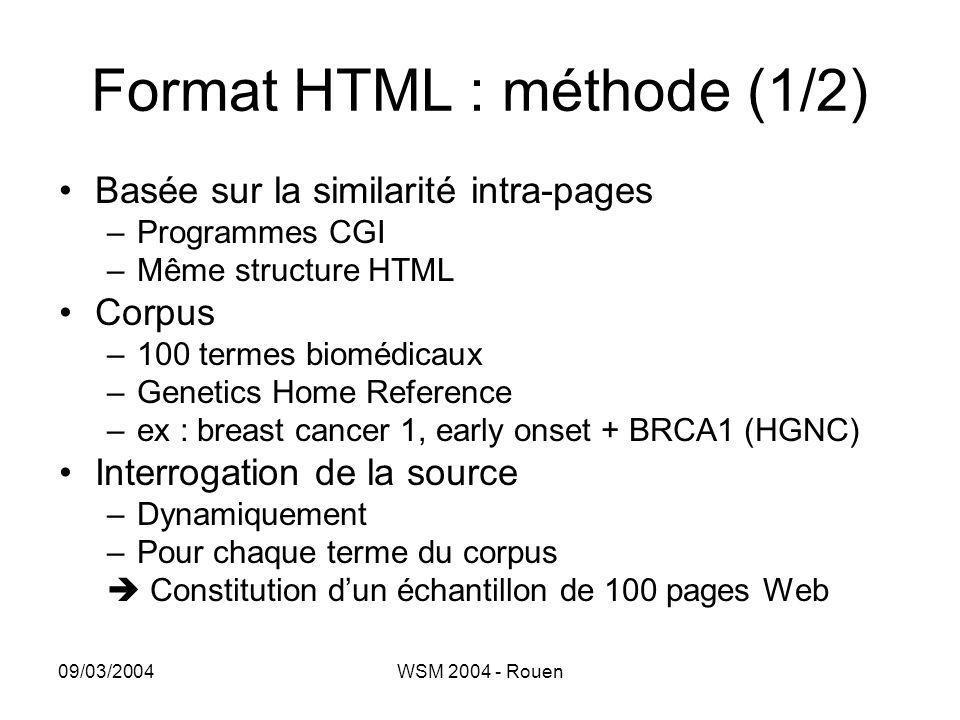 09/03/2004WSM 2004 - Rouen Format HTML : méthode (1/2) •Basée sur la similarité intra-pages –Programmes CGI –Même structure HTML •Corpus –100 termes b