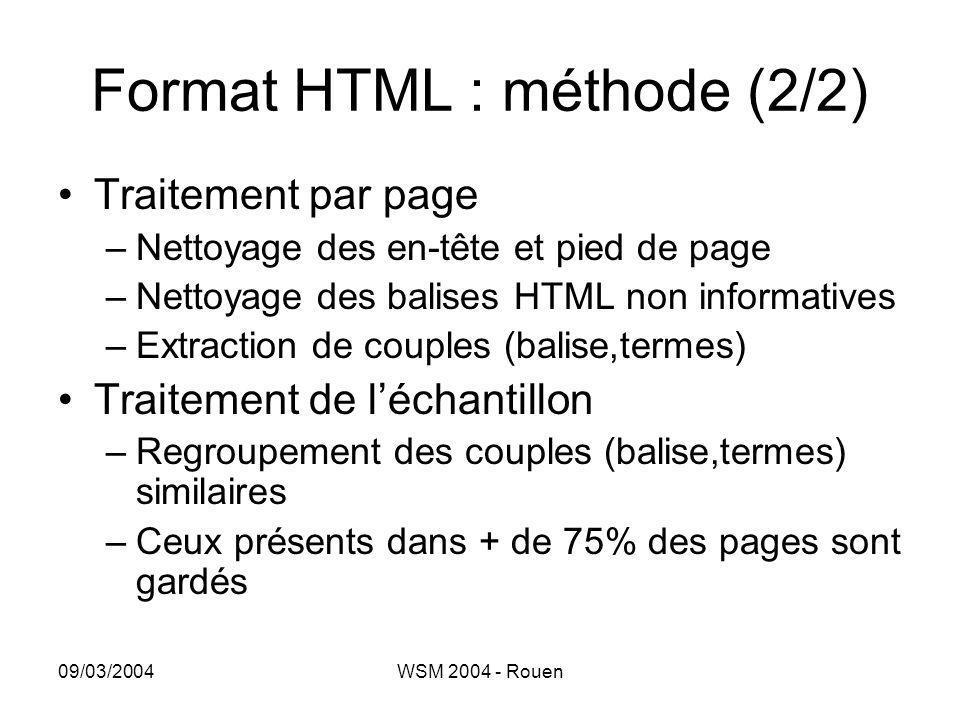 09/03/2004WSM 2004 - Rouen Format HTML : méthode (2/2) •Traitement par page –Nettoyage des en-tête et pied de page –Nettoyage des balises HTML non inf