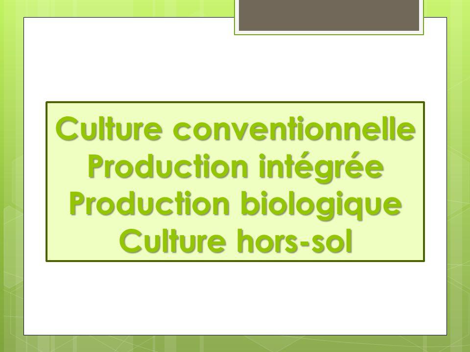 Culture conventionnelle  Utilisation ciblée d'engrais et de produits phytosanitaires courants et autorisés dans el but de garantir un rendement optimal.