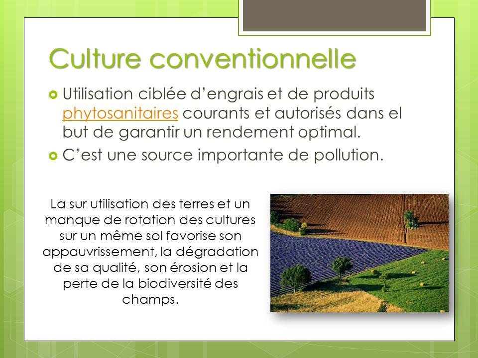 Culture conventionnelle  Utilisation ciblée d'engrais et de produits phytosanitaires courants et autorisés dans el but de garantir un rendement optim