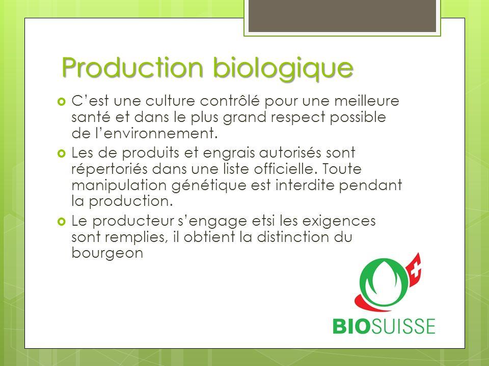 Production biologique  C'est une culture contrôlé pour une meilleure santé et dans le plus grand respect possible de l'environnement.  Les de produi