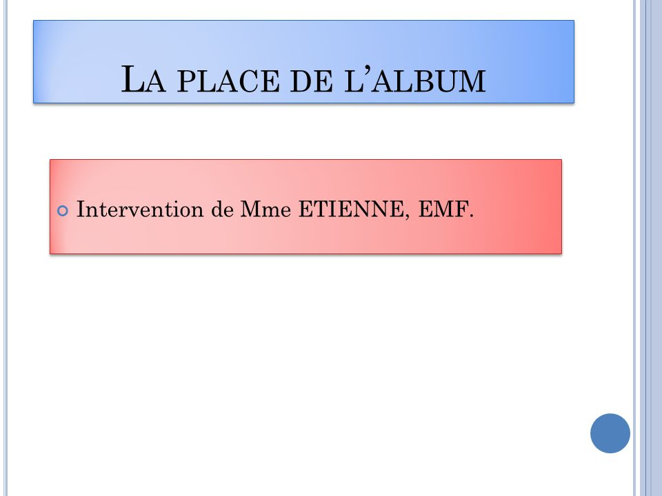 L A PLACE DE L ' ALBUM Intervention de Mme ETIENNE, EMF.